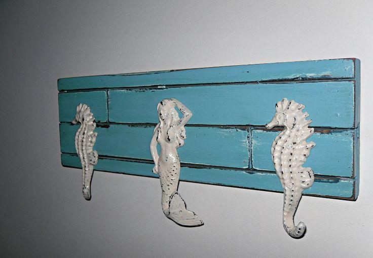 Mermaid / Seahorse Towel Coat Rack / Beach Home Decor /  Aqua Shabby Chic Wall Hook Rack/ Nautical Bathroom. $48.00, via Etsy.