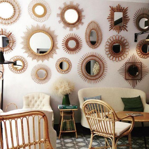 Compte Instagram Encre_violette mur de miroirs rotin vintage deco brocante