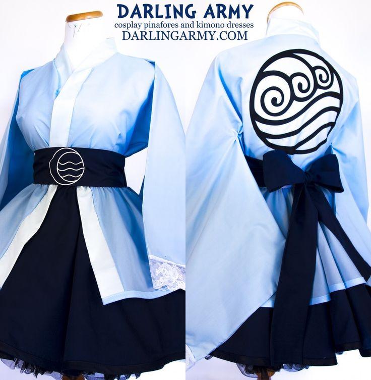 Avatar Water Tribe Katara Korra Cosplay Kimono Dress Lolita Skirt Accessory | Darling Army