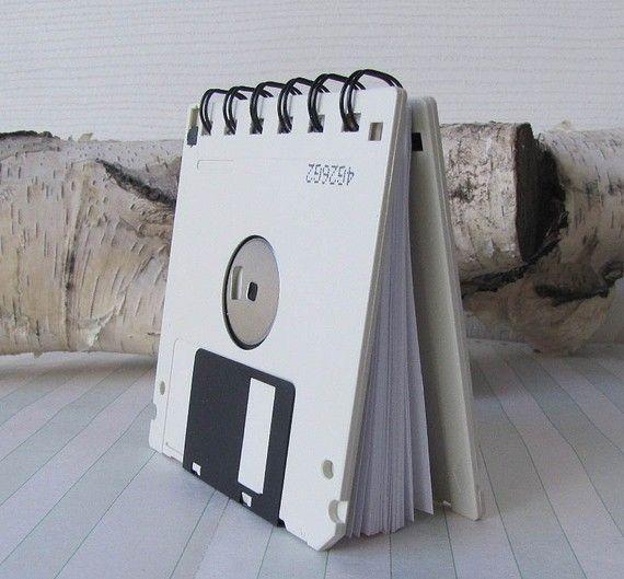 Recycled Geek Gear Blank Floppy Disk Mini Notebook in Off White #nerd