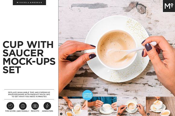 Cup with Saucer Mock-ups Set by Mocca2Go/mesmeriseme on @creativemarket