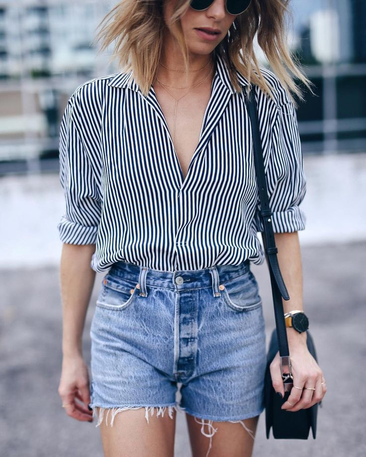 menswear striped shirt with @shopredone shorts #streetstyle