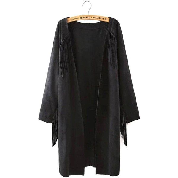 Yoins Black Suede Duster Coat ($35) ❤ liked on Polyvore featuring outerwear, coats, black, coats & jackets, fringe coat, black suede coat, suede leather coat, boho coat and black coat