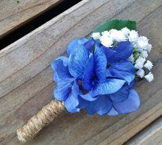 Hydrangea Boutonniere Blue and Ivory Hydrangea by RedRobynLane