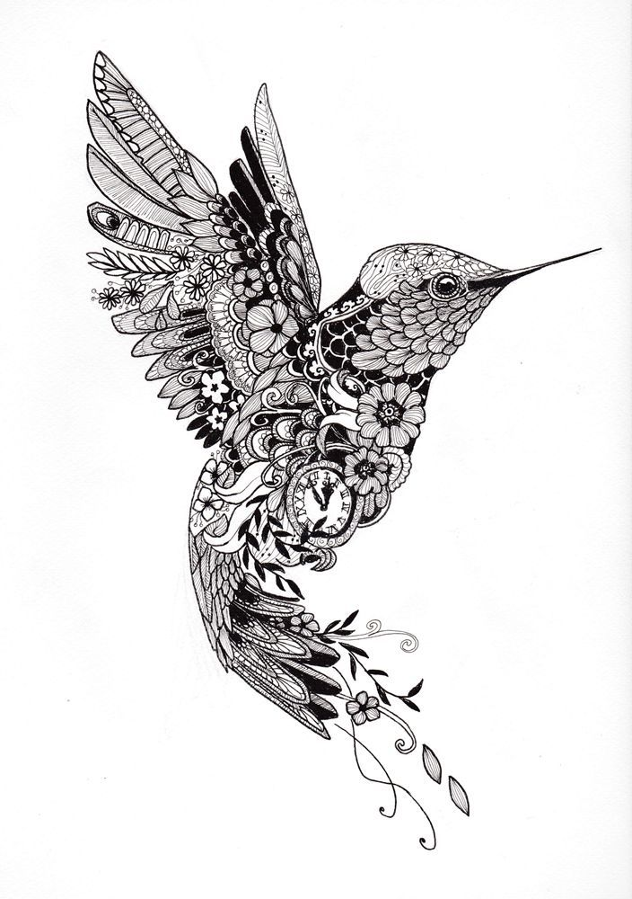 Tattoo design of a hummingbird of patterns, flowers and symbols PLEASE NOTE: The … #flower tattoos