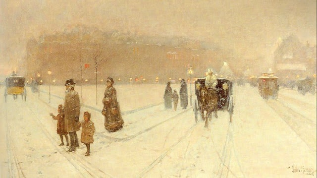 Winter Painting 'A city fairyland' by Childe Hassam (1859-1935) American Impressionist Artist