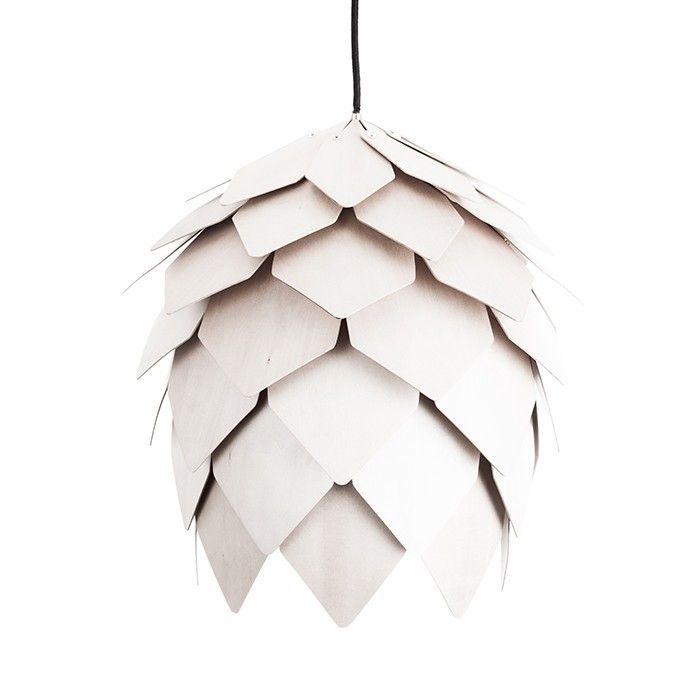 (1) FINN – Hvit Kongle taklampe, Hvit finèr av bjørk og lind. Ø40Cm