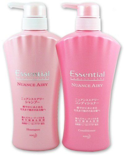 KAO Essential Damage Care - Nuance Airy Hair Care Set: Shampoo and Conditioner (two 500ml pump bottles) by ESSENTIAL. $29.97. High concentrations of honey and proteins penetrate damaged hair, strengthening follicles with regular use.. Imported from Japan, comes with English usage and detailed ingredients.. Wild rose essence provides moisture, with a fruity flower note.. Hydrolyzed conchiolin proteins deliver powerful polypeptides that moisturize hair.. Recommen...