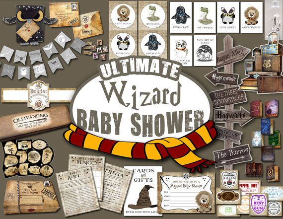 **Digital download. NO physical item will be shipped. ---------------------------------------------------------------------------------- ULTIMATE WIZARD BABY SHOWER BUNDLE (PDF Files) Make it the most MAGICAL party EVER with this Harry Potter-inspired printable BABY SHOWER bundle! Includes invitations, games, banners, signs, cupcake toppers, decorations, owl bags, boxes and MORE!  EASY download includes over 60 pages of printables plus instructions for assembling. This printable download…