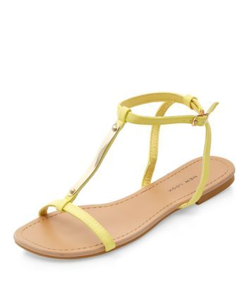 Wide Fit Yellow Metal Trim Sandals
