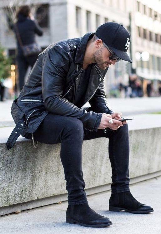 16075b09e92f5a @kosta_williams - with an all black combo featuring a black leather jacket  black ball cap black slim cut denim black suede chelsea boots #fallfashion  ...