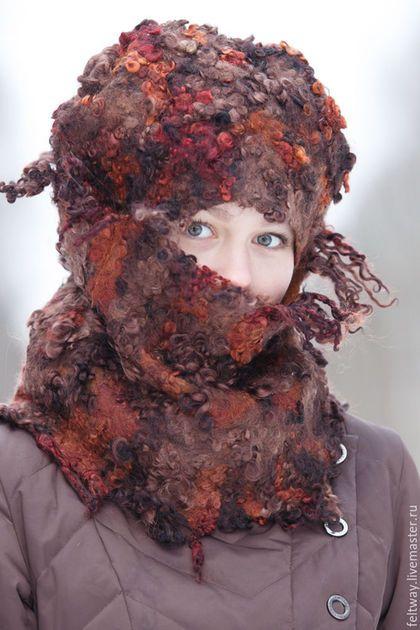 Комплект шапка и шарф Коричневый не такой как все