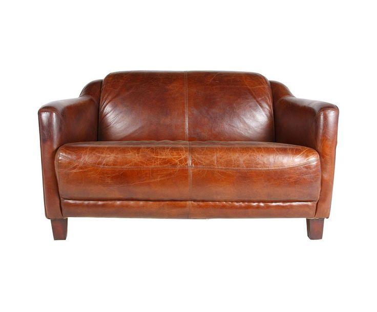 Великолепный кожаный диван небольшого размера, который несомненно украсит Ваш интерьер.             Метки: Маленькие диваны.              Материал: Дерево, Кожа натуральная.              Бренд: American Interiors.              Стили: Лофт.              Цвета: Коричневый.