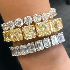 (@bola3jewelry) #Diamond and #YellowDiamond Bracelets from @ns_diamonds
