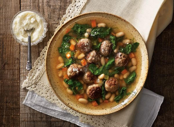 Hearty Meatball Soup with Spinach.  I tasted this at a local Publix grocery store.  It was part of their Aprons recipe tasting.  It was so delicious I wanted to share it on the program.  Enjoy!