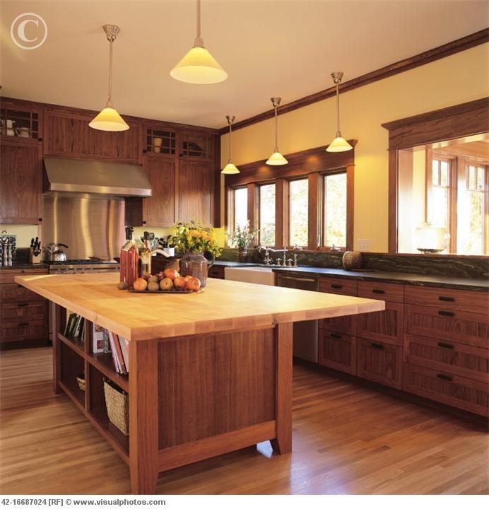 craftsman kitchen, butcher block island