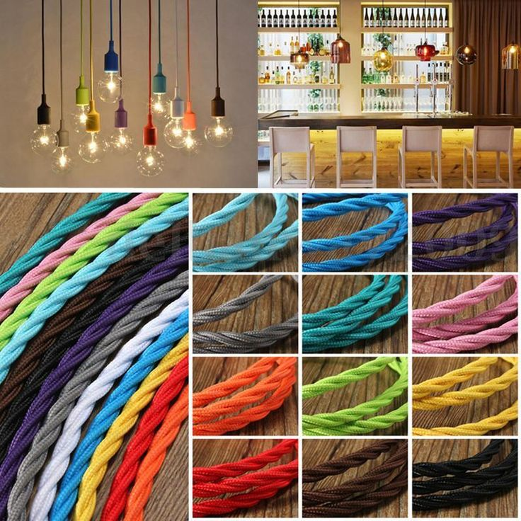 1/3/5/10M Vintage Coloured Twisted 3 Core Fabric Lighting Flex Cable Cord