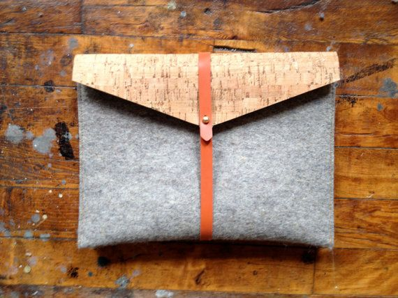 ipad case in tan cork felt and rubber by fluxproductions on Etsy