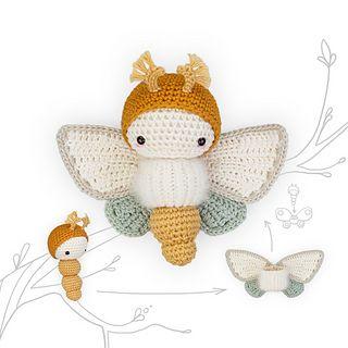 Ravelry: lalylala GOGDEN DAYDREAM MOTH butterfly pattern by Lydia Tresselt