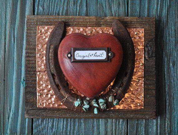 Cowgirl at Heart- Copper Rustic Cowboy Western Horseshoe Art, rustic western cowgirl, western gift , rustic nursery