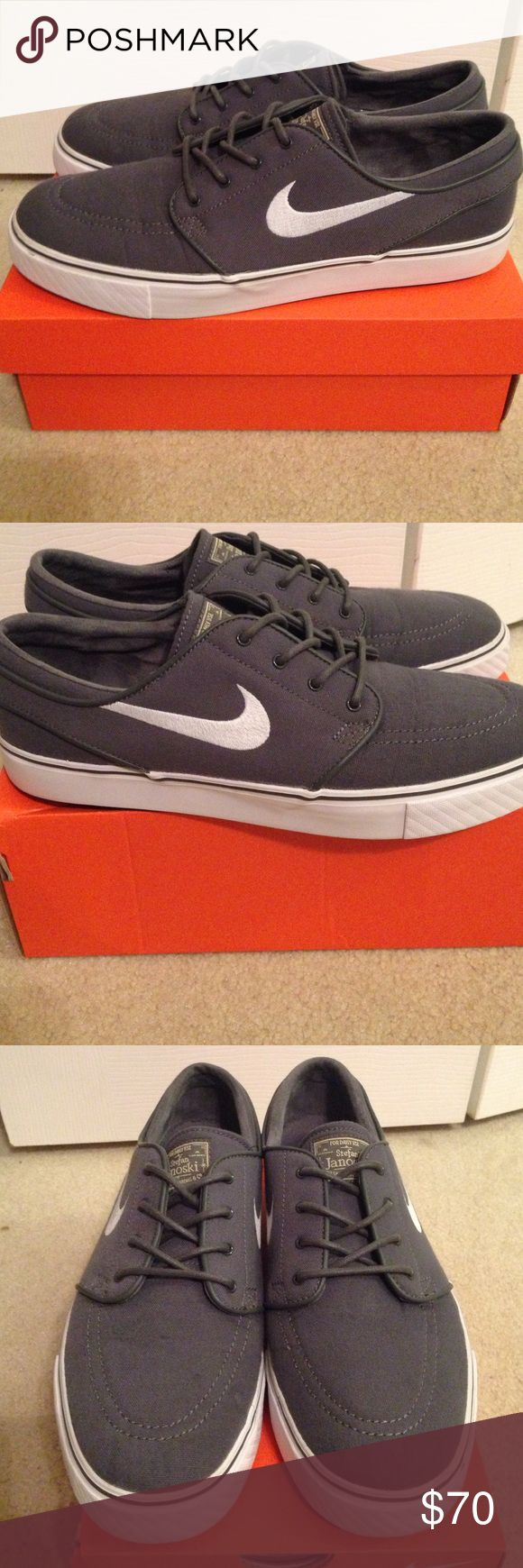 ... new style 4823b 59fec Mens grey nike shoes Nike SB Zoom Stefan Janoski  gray and white ... d250ec756772