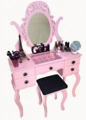 Penteadeira com Porta Joia rosa com preto para comprar clique aqui  http://www.filomena-mena-mena.com.br/Infantil/Penteadeira/penteadeira-com-porta-joia-rosa-com-preto___771250-SIT.html