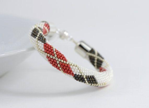 Argyle bracciale classico tallone Crochet bracciale bracciale minimalista bianco rosso Sillver grigio perline gioielli moderni multicolore