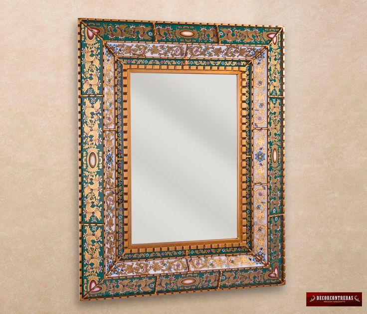 """Espejo Decorativo Rectangular Concavo, """"Noble Esperanza"""" - Estilo del vidrio Pintado a mano con Estructura de madera cubierto en dorado by DECORCONTRERAS on Etsy"""