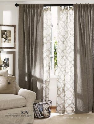 Layered curtains for the living room.. I even like the color. It'd be across from the Gray wall.
