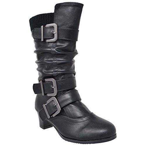 a222ac3c035bf Kids Girls Knee High Boots Ruched Faux Leather Strappy Buckle Low ...