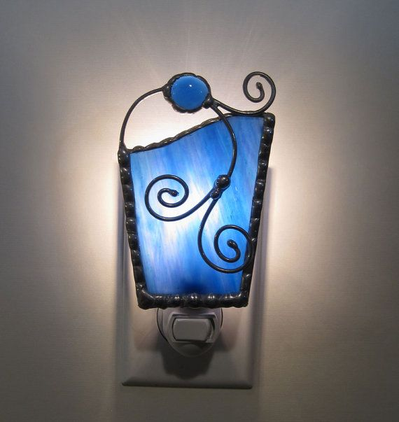 Unique Stained Glass Night Light, Cobalt Blue w/ Purple, Green and Blue Iridescence, Nite Lite $24