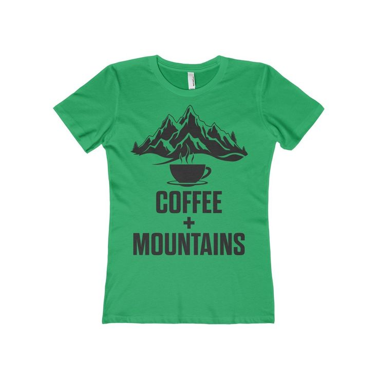 Women's Green Coffee + Mountains Tee. Pacific Northwest. Washington State. Oregon. Seattle. Portland.