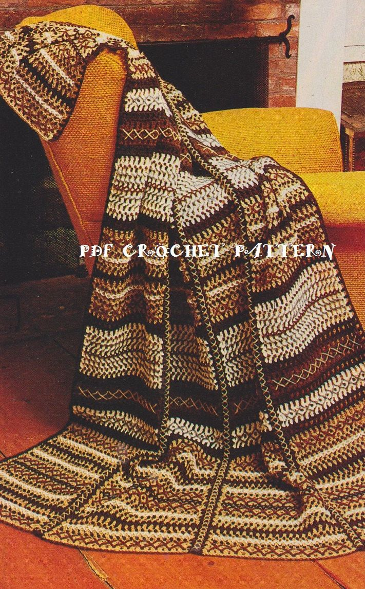 Crochet Patterns Intermediate : Afghan Pattern #KC0002, Intermediate Skill Level, Crochet PDF Pattern ...