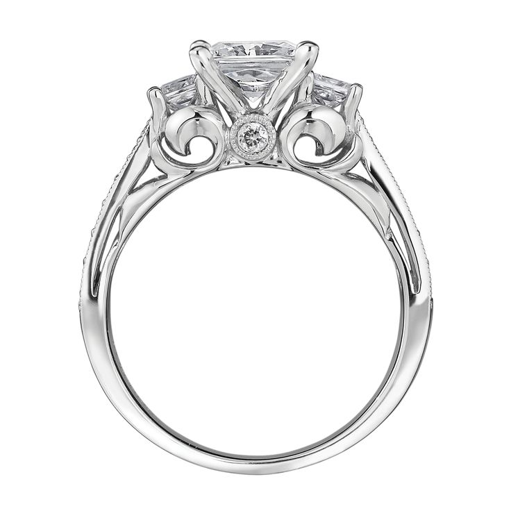 Good Day #29 Feature: Three Stone Engagement Ring With Beautiful Scroll Design  Underneath.