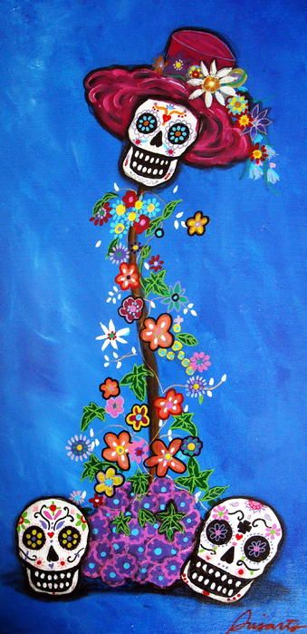 Floral Dia de los Muertos Day of the Dead Calavera Painting by Prisarts gift mother's day birthday