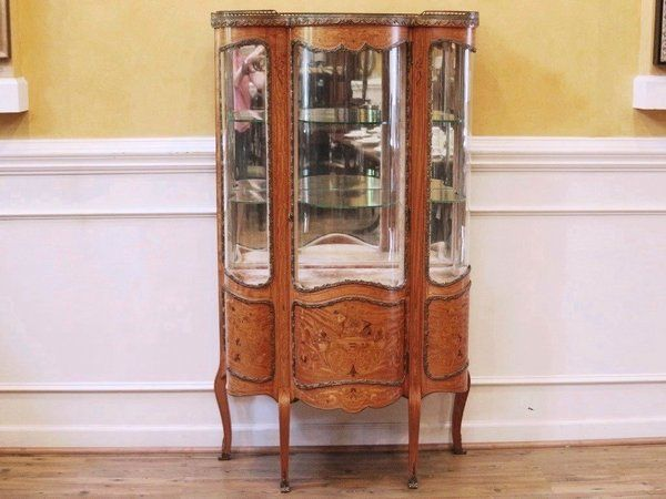 Antique French Inlaid Marquetry Vitrine Curio China Cabinet 19th C Dining RoomsDining