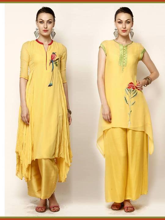 Designer punjabi suit in yellow color.