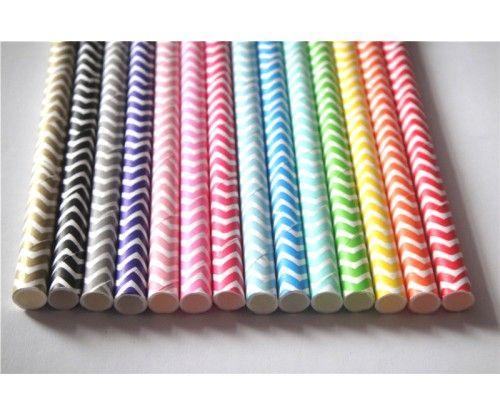 Chevron csíkos papír szívószál - 25 db - több színben. Születésnapi, névnapi bulik fontos kelléke, környezetbarát