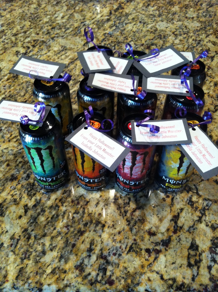 "Halloween Teacher's Gifts.  I made this for my kids' teachers.  They are Monster energy drinks with the tag,""Happy Halloween from your Little Monster, Taylor!""."