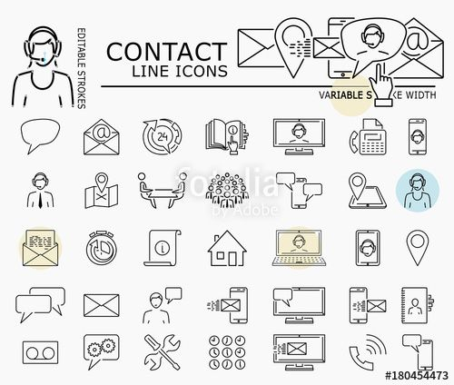 "Download the royalty-free vector ""Contact line icons with minimal nodes and editable stroke width and style"" designed by dropix at the lowest price on Fotolia.com. Browse our cheap image bank online to find the perfect stock vector for your marketing projects!"