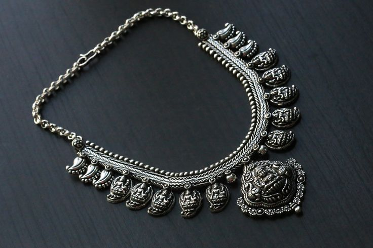Lakshmi Oxidized Temple necklace
