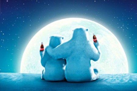 Coca Cola Misie Polarne w Pełni Księżyca - plakat - 91,5x61 cm  Gdzie kupić? www.eplakaty.pl