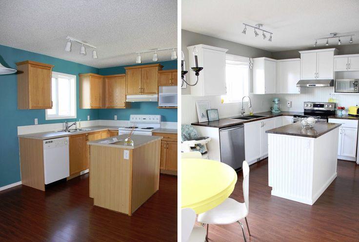 Geverfde keuken voor en na