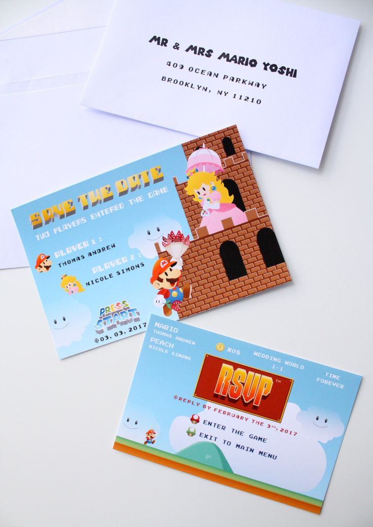 Unique Nintendo Gameboy Wedding Invitation with Reception Card ...