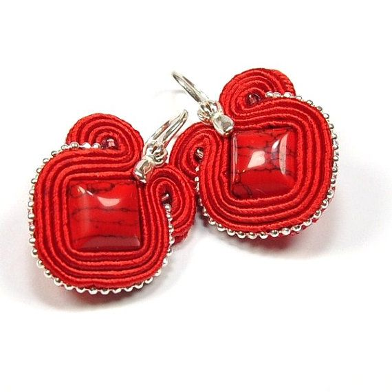 Soutache Earrings with Red Coral. Hand Embroidered by ArtStyleBizu, $42.00