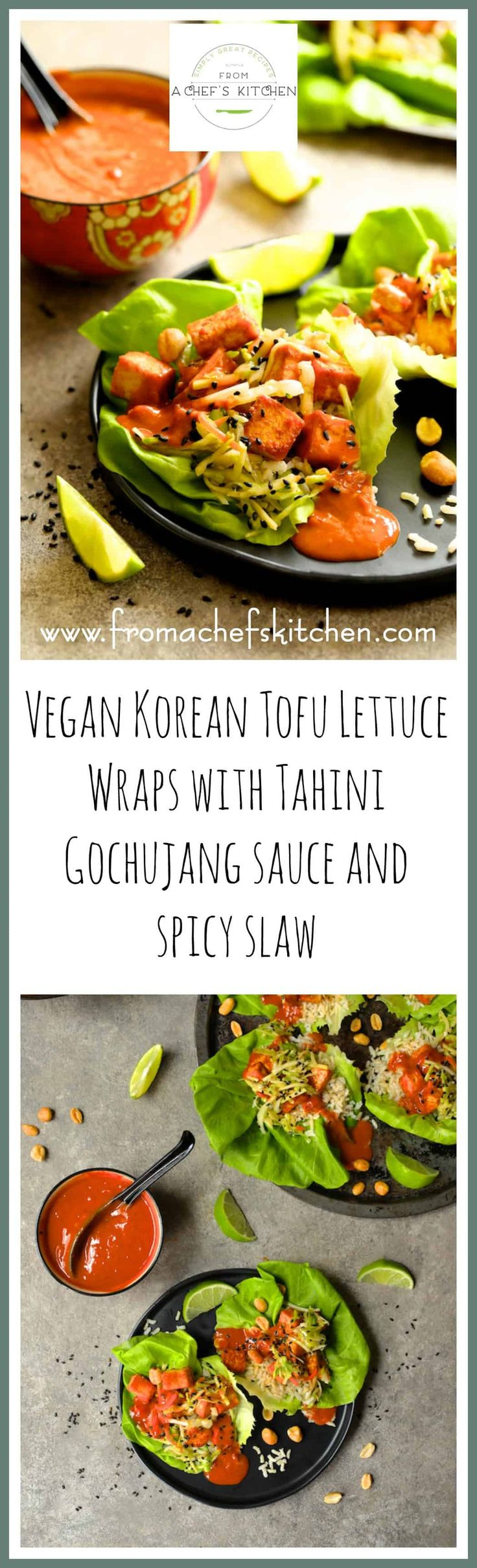 Vegan Korean Tofu Lettuce Wraps with Tahini Gochujang Sauce and Spicy Slaw are the fun, flavorful and healthful way to get your Korean food fix!     via @chefcarolb
