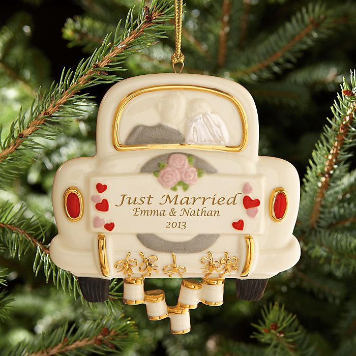 Lenox Christmas Tree Toppers Part - 47: Just Married Wedding Ornament By Lenox