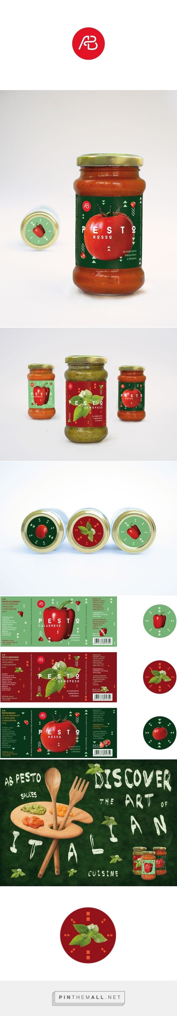 Graphic design, packaging and print design for A.B.Pesto Sauces on Behance by…