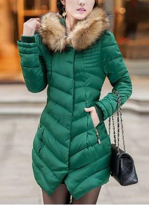 Cotton & Cotton Blend Long Sleeve Hooded Pockets Coats