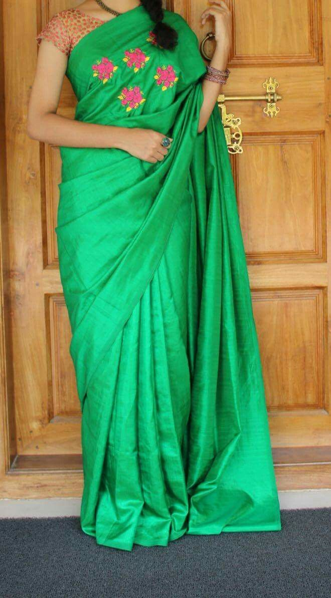 c0d75692e6160 Soft silk saree with embroidered design only at the chest part Silk cotton  blouse same as embroidery design colour